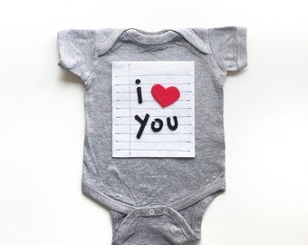 I Heart You Valentines Day Shirt, Lined Paper Love Note Onsie, Cute Kids Clothes, New Baby Bodysuit, Baby Boy Clothes, Baby Girl Clothes