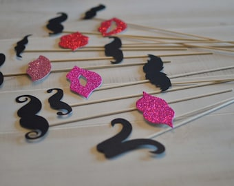 Lips and Mustaches Photo Prop on a Stick Photo Booth Prop  DIY OR Assembled