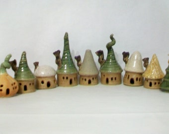 Garden Fairy Houses - Pick Your Set of 2-3-4-5 or more - Houses/Tree - Handmade on the Potters Wheel - Actual Houses Ready Now - You Choose