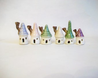 Mini Houses - Pastels - - Handmade, Wheel Thrown --Ready to Ship - Listing for 1 House - Sold as Singles