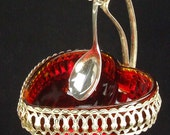 Vintage Ruby Red Glass Heart Shaped Bowl in Silver Filagree Platform Stand  Hanging Spoon Cranberry Relish Dish Valentine ATCTTEAM TNTEAM