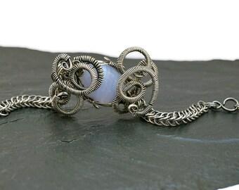 Boho Bracelet, Chainmaille Bracelet, Blue Lace Agate Bracelet, Gemstone Bracelet, Silver Bracelet,  Vintage Style, Art Nouveu Jewelry