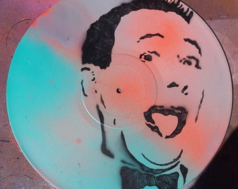 SALE Free US Shipping Pee Wee Herman upcycled vinyl record painting street art spray paint original stencil