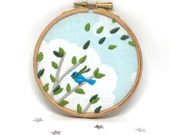 Beautiful Hand Embroidered Hoop Art. A Sweet In The Hoop Embroidery. Bird On A Branch. Blue and Greens. 4x4 Inch Pretty Picture