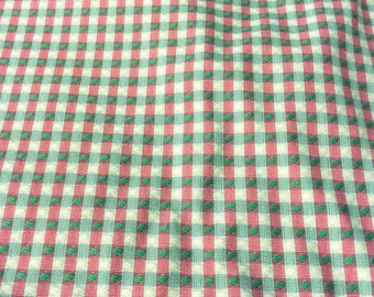 Pink and Green Woven Check Fabric - Pink and Green Woven Plaid - Designer Woven Fabric - Textured Plaid with Dot - Fabric Yardage