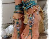 Teal SUNFLOWER Barefoot Sandals Hippie FESTIVAL sandal Flower Power Toe Thongs Wrap Wings Statement foot wear crochet foot jewelry GPyoga