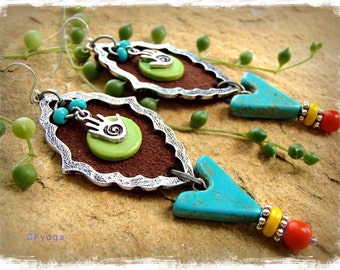 TURQUOISE Cowgirl Earrings Healing Hand Triangle symbol Gypsy hippie long earrings leather earrings Boho Hippie Bohemian earrings GPyoga