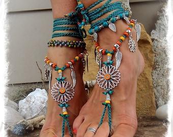 Teal SUNFLOWER Barefoot Sandals Hippie FESTIVAL sandal Flower Power Toe Thongs Wrap Wings Statement foot wear crochet foot jewelry GPyoga
