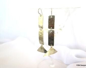 Long silver earrings, Hammered minimalist modern tribal earrings, gift for her
