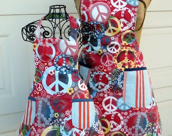Matching Mother Daughter Apron Set Reversible Peace Signs and Stripes