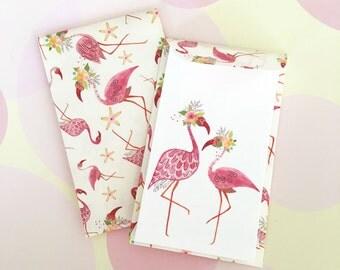 Flamingo Mini Cards, Gift Enclosure Card, Mini Cards and Envelopes, Gift Card Holder, Set of 10