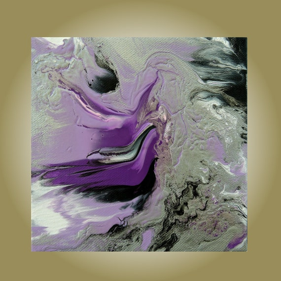 "Small Abstract Impasto Painting 'Purple Angels' 6"" x 6"" Acrylic on Gallery Canvas Modern Surreal Art Violet Purple Silver Black White"