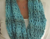 Turquoise blue crochet cowl,scarf,winter accessory,neckwarmer,soft yarn,patterned cowl,lacy scarf,handmade by Fraline
