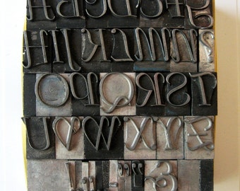 Vintage Metal Letterpress Type XL Italic Uppercase 39 Piece Complete A to Z