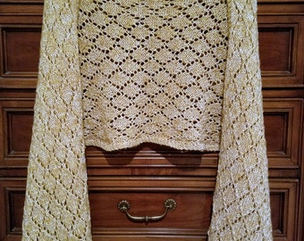 Gold Diamond Pattern Women's Wrap Shawl