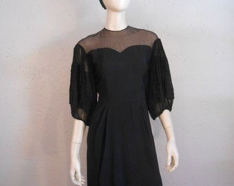 Flying Down to Rio - Vintage 1930s Black Rayon Illusion Cocktail Dress w/Large Accordian Sleeves
