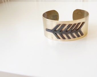 Brass Feather Statement Cuff / Weathered Copper on Brass / Southwestern Summer Style