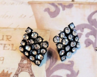 Japanned Rhinestone Pierced Earrings Black White Vintage Jewelry