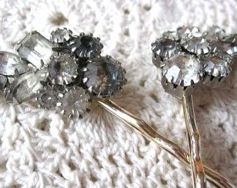 Wedding hair pins, smoky gray rhinestone hair pins, vintage earring hair pins, vintage bobby pins, bridal hair pins, upcycled, Lily Whitepad