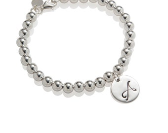 Initial Bead Bracelet Silver Ball Bracelet Personalized 925 Sterling Silver Jewelry