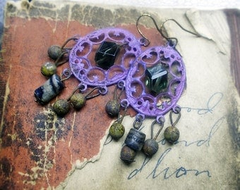 Rustic Beaded Earrings -  Spaceport Assemblage Earrings - Iridescent Purple Connectors, Trade Beads, Grungy Glass Rounds, Vintage Plastic