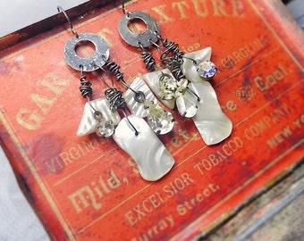 14 DOLLAR SALE Rustic Chandelier Earrings - Assemblage - Better Angels - Vintage Faux Shell Shards, Mismatch, Dark Grungy Metal Hoops