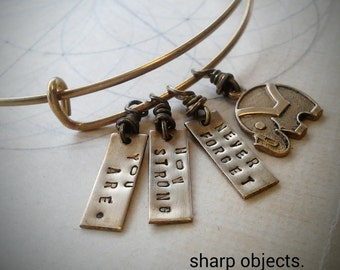 Never Forget - miniature elephant & stamped tag charms, motivational expandable brass braceletl