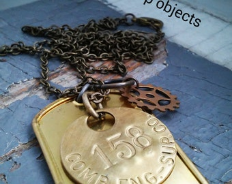 The Strength of an Engine - numbered vintage tag, metalwork gear & stamped tag, sealed link chain necklace