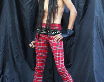 Brit Boy Zip Tartan Plaid Denim Jeggings (Leggings/Jeans) XS to XXL