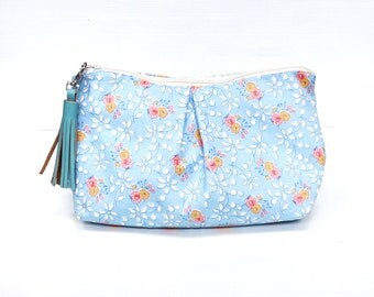 Powder Blue Spring Floral Cosmetic Make Up Bag, Travel Make Up Pouch, Cosmetic Case, Zippered Purse
