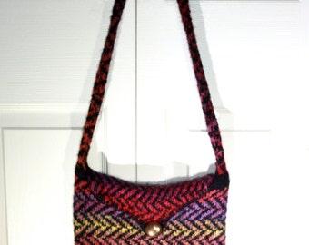 Felted Handbag,  Messenger Bag, Shoulder Bag, Bright with Black