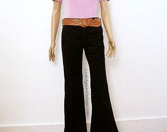 Vintage 1960s Bellbottoms Woodstock Era Black Corduroy Unworn Hip Hugger Jeans / Extra Small