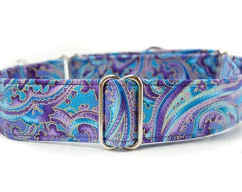 Paisley Martingale Dog Collar,,, Island Blue,, purple and blue paisley Martingale Dog Collar in 1.5 inch or 2 inch width
