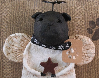 Black Pug Angel, OOAK,hand-sculpted from paper mache,Pug Angel