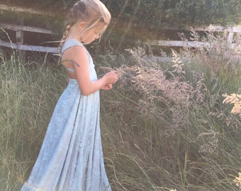 Girls/ Childs  Lace or Chiffon~ Long Double Layer Octopus Infinity Twirl Dress~Custom Choose any fabrics~ Flower girl