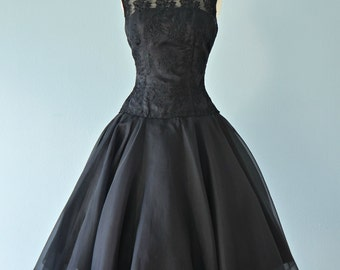 Vintage 1950s Party Dress...ELINOR GAY Black Embroidered Organza Party Dress Little Black Dress
