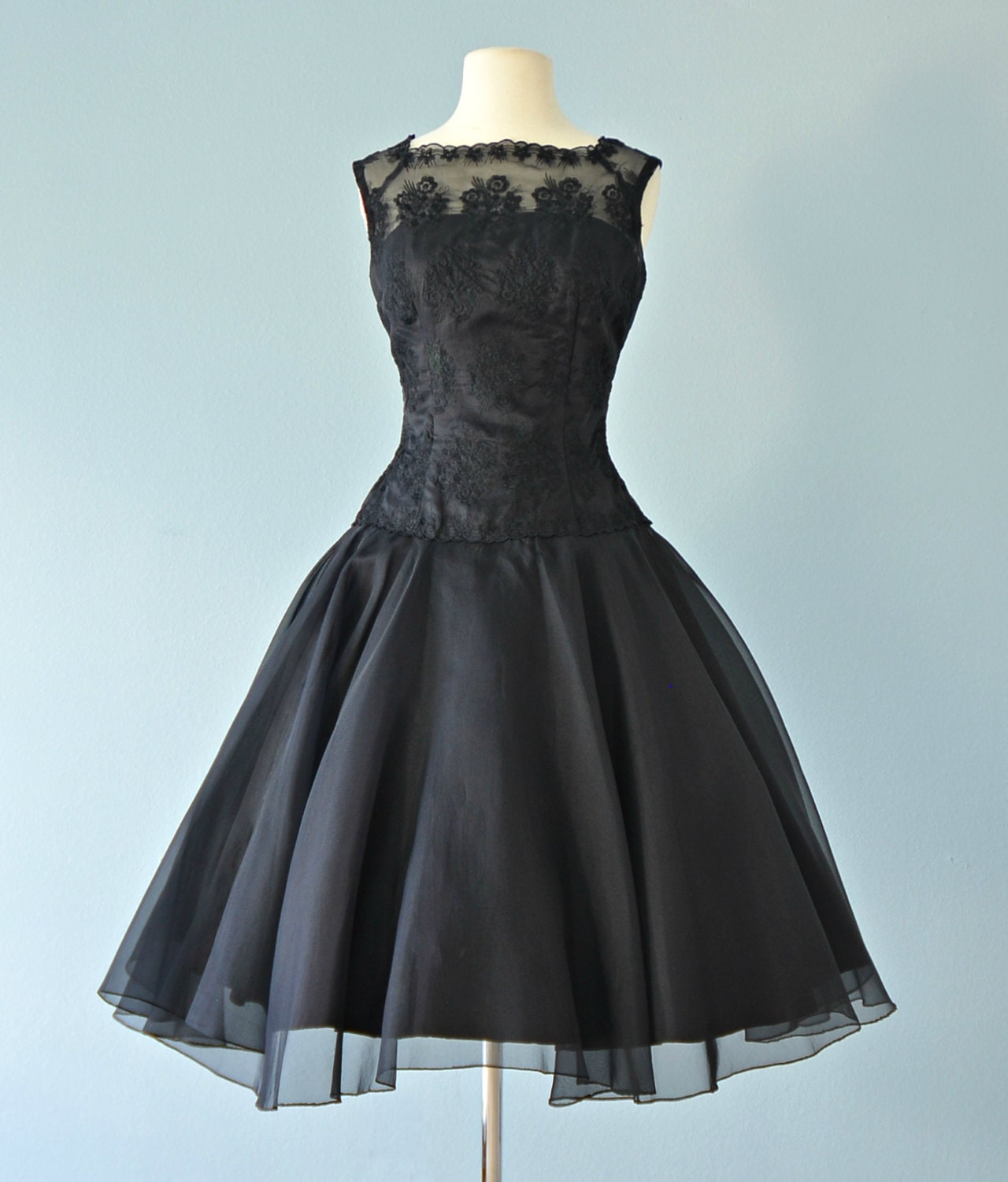 Vintage 1950s Party Dress...ELINOR GAY Black Embroidered