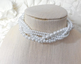 Choker  white pearls ribbon braided twisted chunky statement pearl necklace