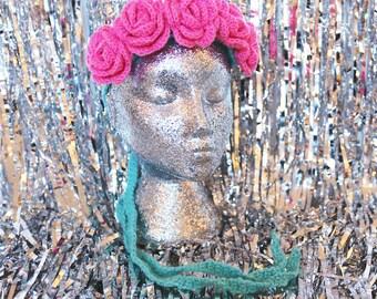 Hot Pink Blooming Flower Crown