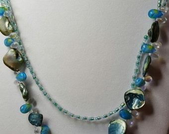 Sea Blue Necklace, Bracelet, and Earring Set