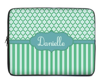 Personalized Laptop Cover, blue green laptop case, monogram laptop sleeve, to fit 15.6, 10, 13, 15, 17 inch, netbook case, coworker gift