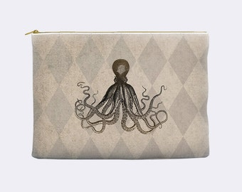 Octopus makeup bag, kraken pencil case, make up bag, cosmetic bag, large pencil case, zippered pouch, pencil pouch, pencil bag