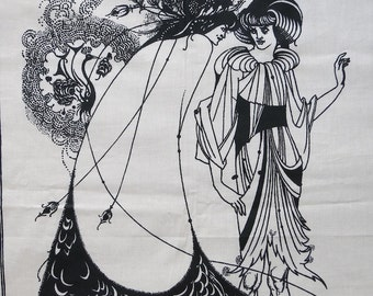 Vintage Printed Cotton Fabric - Aubrey Beardsley Art Nouveau Women - Bloomcraft Textile Black and White Three Panels