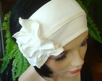 Womens headbands adult hairband cream wide Headband yoga hairband with ruffle bow