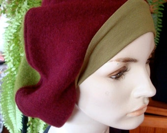 Beret womens hat woollen beret chemo hat slouchy olive green and aubergine
