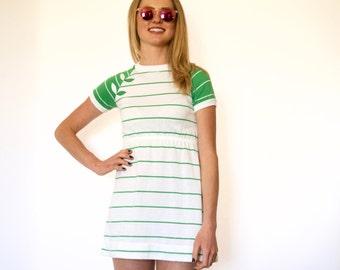 70s Micro Mini White Green Contrast Stripe Athletic Dress xxs