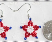 Beaded Star Earrings on Silver Tone Ear Wires Patriotic Red white & Blue Perfect for the holidays