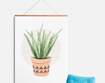 Southwest Potted Plant Illustration, Cactus Decor, Botanical Print, Kitchen Wall Art