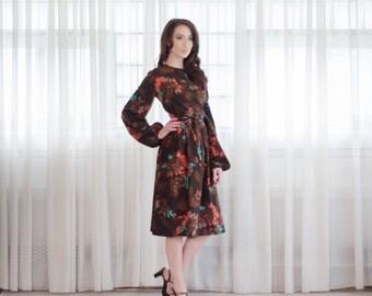 70s Floral Dress - Vintage 1970s Dress - Change of Season Dress