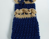 Plastic Bag Holder, Navy Blue Beige Crochet Bag Keeper Dispenser, Kitchen Organization Storage, Gift Idea, Knitted Grocery Bag Dispenser